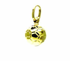 Ciondolo Oro 18kt Pendente Pallone Palla Da Calcio Exquis (En) Finition
