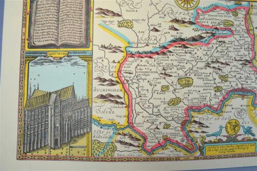 Vintage decorative sheet map of Middlesex London town plan John Speede 1610