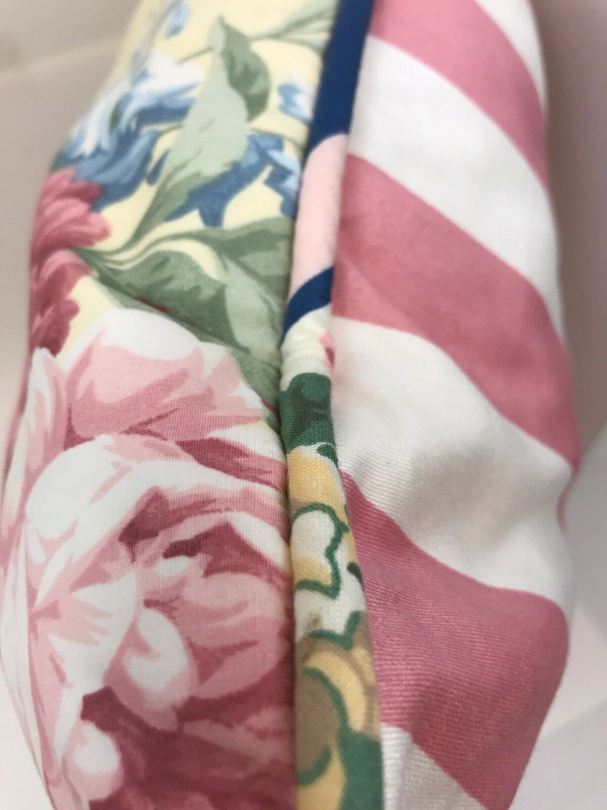 Ralph Lauren Throw Pillow Monroe Pink & White Stripe Yellow Floral 21  Square