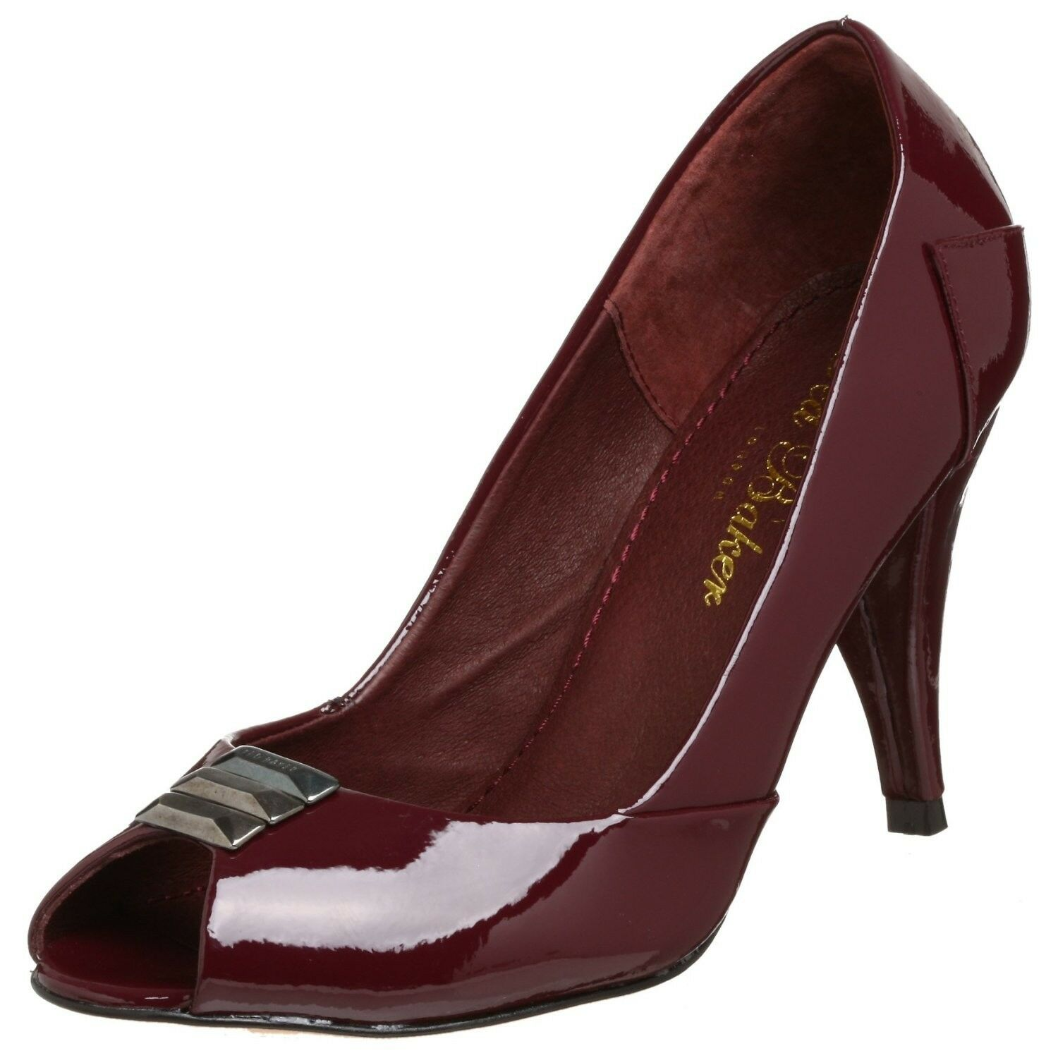 Nuovo Ted  Baker WIZCON Metal Baguette Peep Toe Court Patent Pump Heel Dark rosso 7  migliore marca