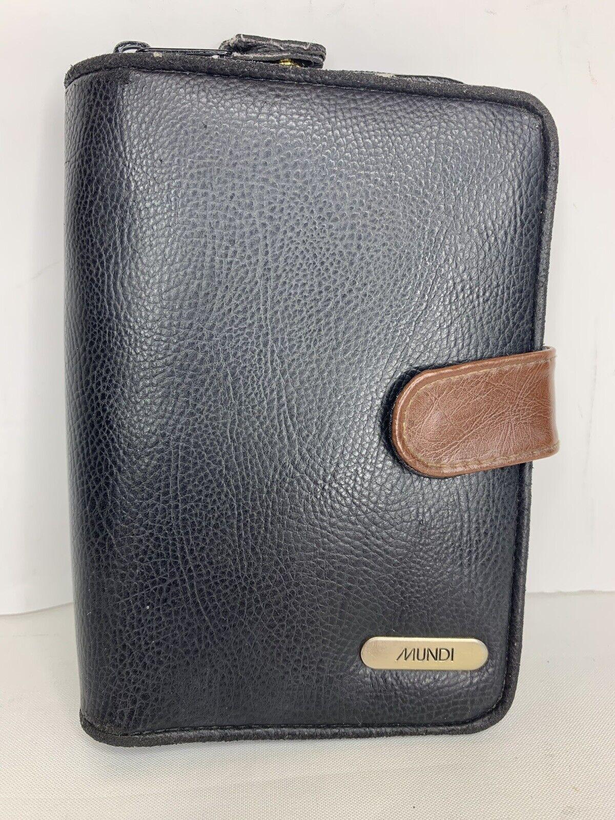 Mundi Black Leather Wallet Organizer Clutch Holds Everything Cards ID Change