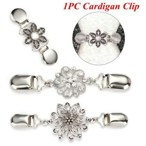 Clothing-Pins-Antique-Silver-Clips-Cardigan-Collar-Clip-Sweater-Shawl-Clasps-UK
