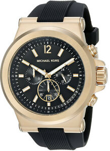 Michael-Kors-Men-039-s-Dylan-Quartz-S-Steel-Black-Silicone-100m-Watch-MK8445