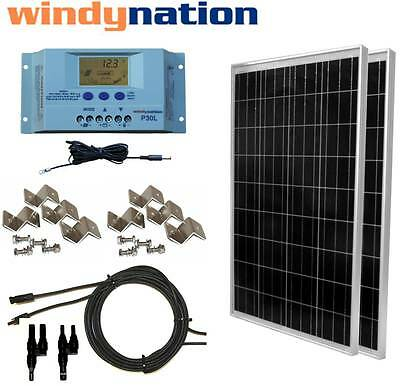 200 Watt 200W Solar Panel Kit with LCD Solar controller 12/24V RV Boat Off Grid