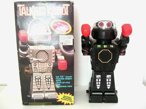 ★COSMIC TALKING GIANT ROBOT 12'' SHOOTING FISTS 30 CM.STILE ANNI 80★