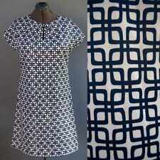VTG 60s 70s Op Art Mod Geometric Graphic Dress Blue White Go Go Chic sz L XL
