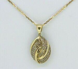 Collar de Diamantes de Oro - 9ct Diamante Oro Amarillo Cadena Colgante con dibujos