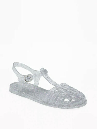 New Girls Old Navy Clear Glitter Fisherman Jelly Sandals Size 3 4 5