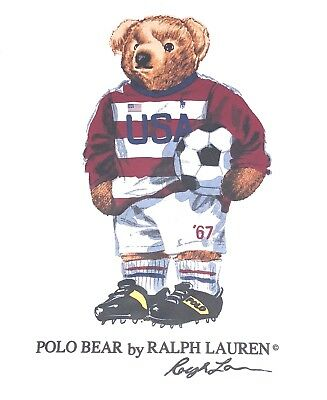 New Polo Ralph Lauren Usa Bear Logo Soccer Hoodie Sweatshirt Rare