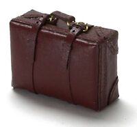 Dollhouse Miniature Opening Brown Leather Suitcase 1:12 Doll House Miniatures