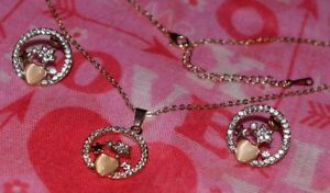 EXQUISITE-18k-GOLD-PLATED-RHINESTONE-STAR-AND-OPAL-HEART-NECKLACE-EARRINGS