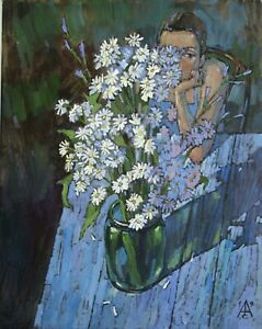 Spring-Still-life-with-daisies-woman-by-S-AVDEEV-RUSSIAN-Original-oil-Painting