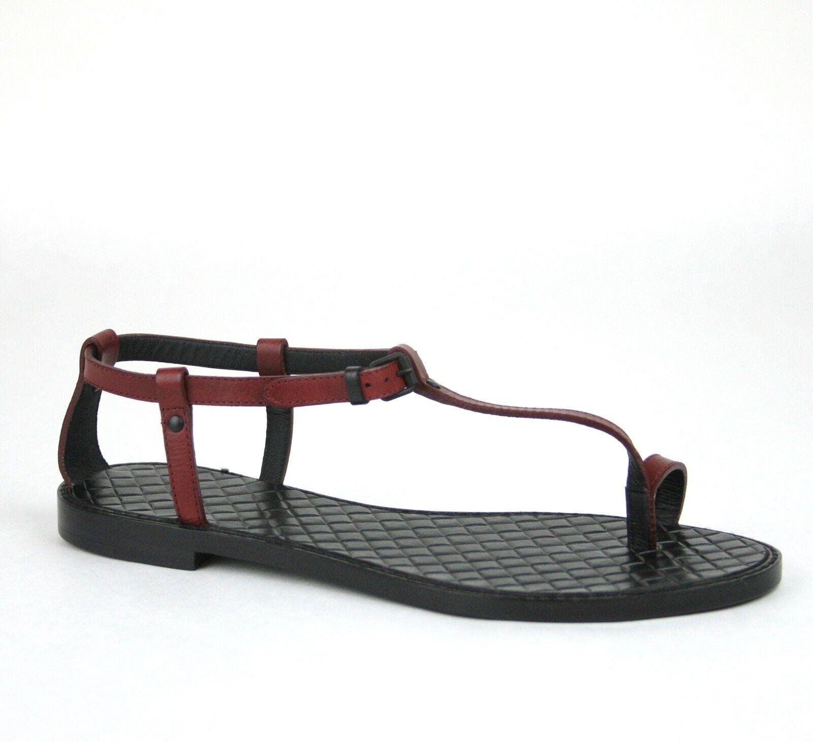 New Bottega Veneta Leather Thong Sandal Woven Detail bluee Red 254555 6130