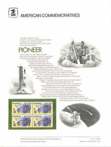 #44 10c Pioneer Spacecraft #1556  USPS Commemorative Stamp Panel
