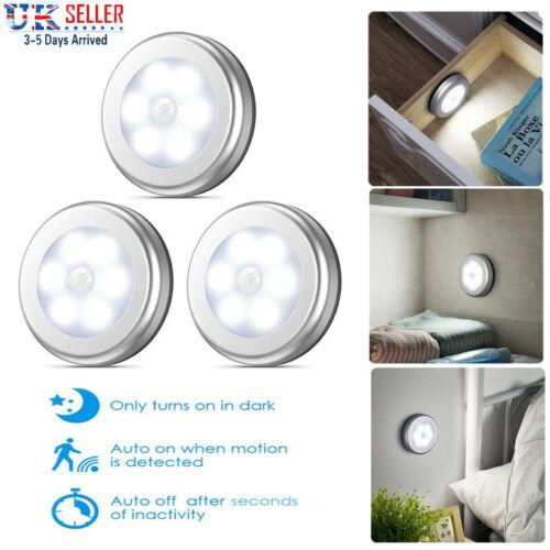 3PCS LED Night Light Motion Sensor Wardrobe Lamp for Stair Cupboard Cabinet UK