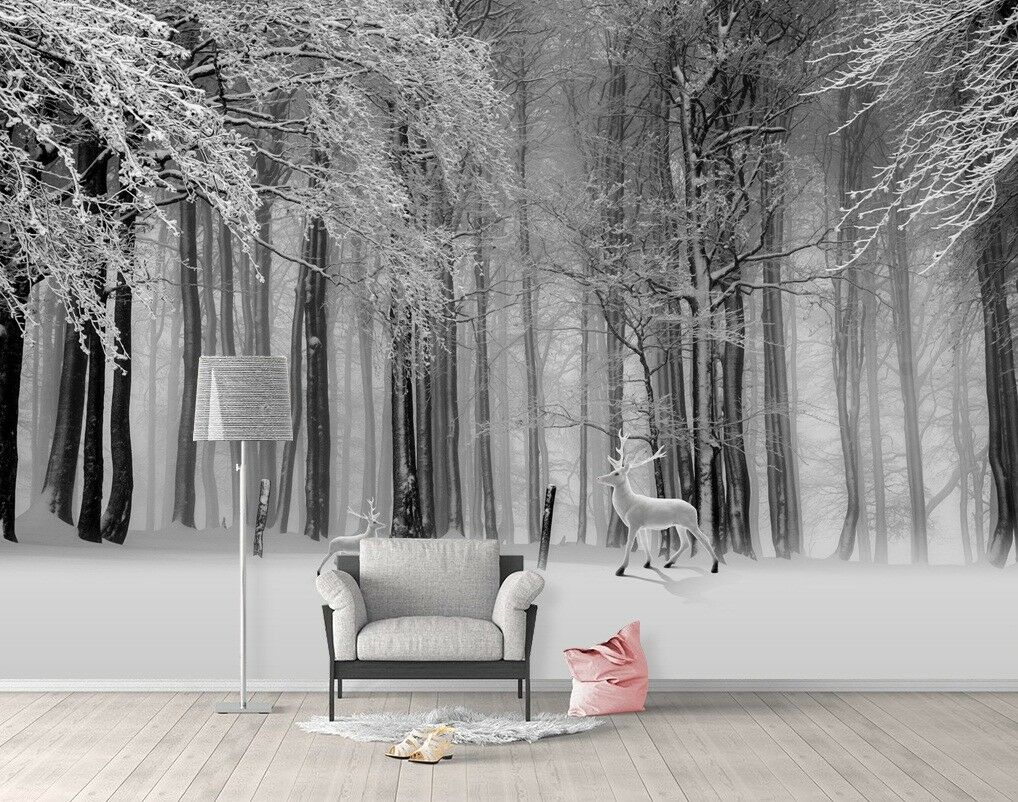 3D Dark Forest Deer 5 Wall Paper Exclusive MXY Wallpaper Mural Decal Indoor wall