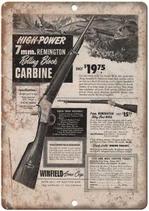 """Remington Rifle News Jet 22 Caliber Cartridge 10/"""" x 7/"""" Reproduction Metal Sign"""