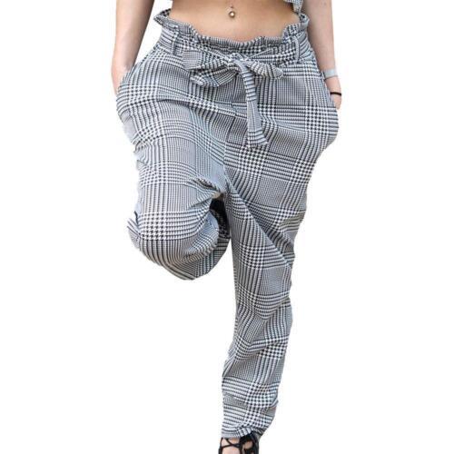 Da Donna con motivo check quadretti Cravatta Cintura Pantaloni Tasche Laterali Slim Fit