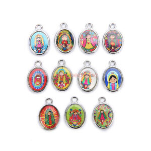 50Pcs-Catholic-Religious-Carton-Enamel-Medals-Charms-Pendants-Holy-Doll-15mm