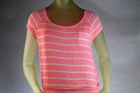 Roxy Women's Scoop-neck Sweater Knit Top Pink/coral Stripe Size Medium