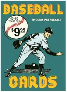 Hero-Recycling-factory-pack-of-10-vintage-baseball-cards-40-60-years-old