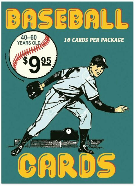 Hero Recycling factory pack of 10 vintage baseball cards 40-60 years old