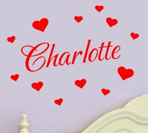 Personalised-Name-Wall-Art-Hearts-Vinyl-Sticker-Girls-Room-Bedroom-17-Colours