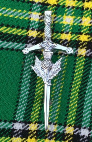 "Scottish Kit PINS Various Design Chrome Finish 4/"" Highland Celtic Pin Brooch"