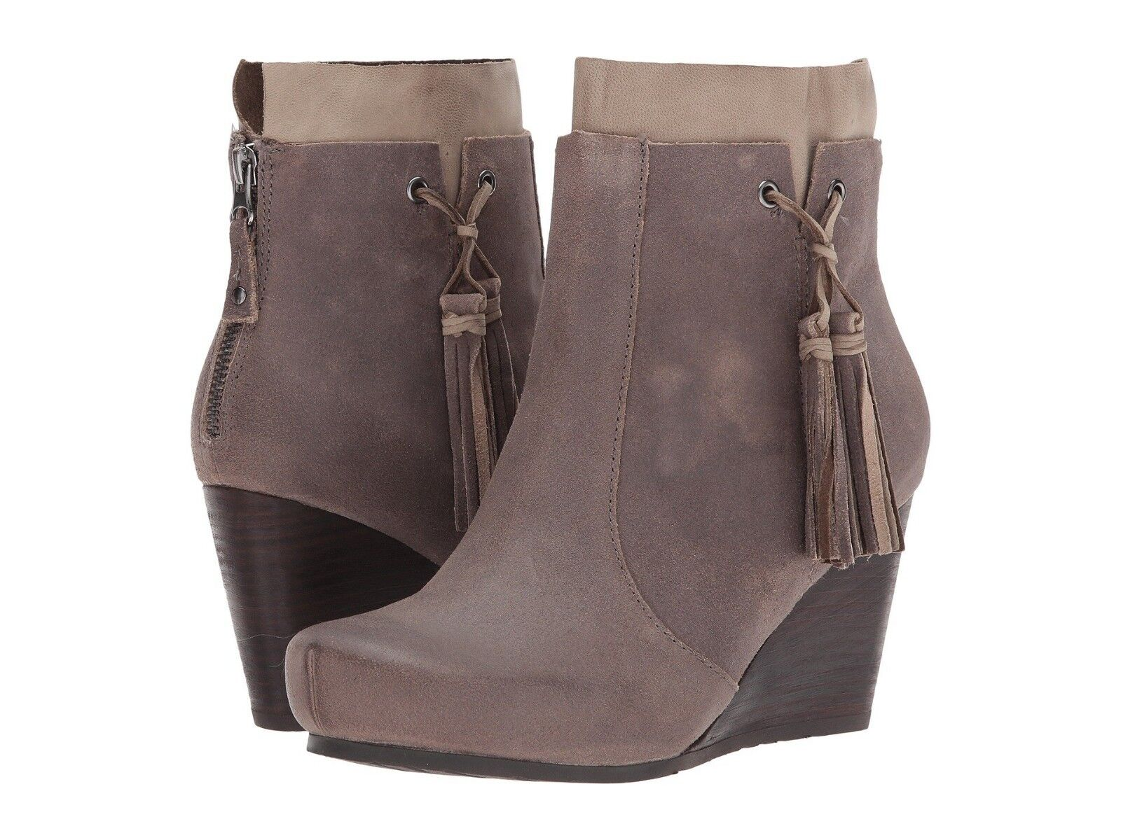NEW OTBT Vagary Wedge Bootie, Dust Grey Oil Split Suede, Women Size 9.5,