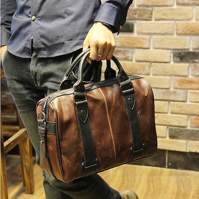 Vintage Men's Brown Leather Messenger bags Briefcase Bag Shoulder school Bags