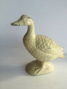 Image is loading Old-Paint-Antique-Cast-Iron-Duck-Goose-Sculpture- & Old Paint Antique Cast Iron Duck Goose Sculpture Door Stop Vintage ...