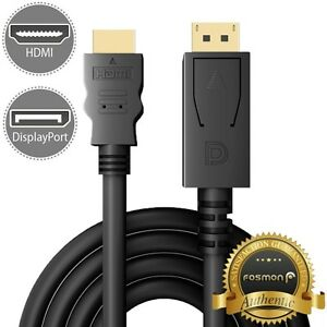 6FT Display Port DisplayPort DP to HDMI Cable Adapter Gold Plated [UL Listed] 879561264950