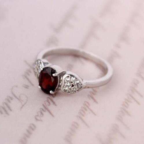Natural Garnet Ring Stacking Simple Dainty Tiny Handmade 925 Sterling Silver