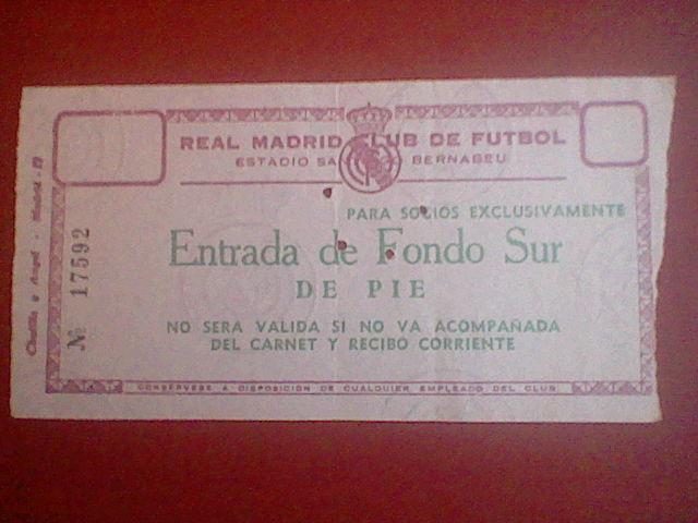 Entrada futbol 1968 REAL MADRID AJAX  CHAMPIONS LEAGUE ORIGINAL