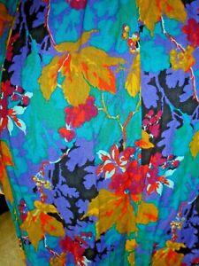 Colorful Skirt Vintage Norton McNaughton Floral Midi Sz 10 Teal Red Purple Gold