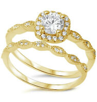 Sterling Silver Yellow Gold Plated Halo Vintage Style Engagement Ring Set S 4-10