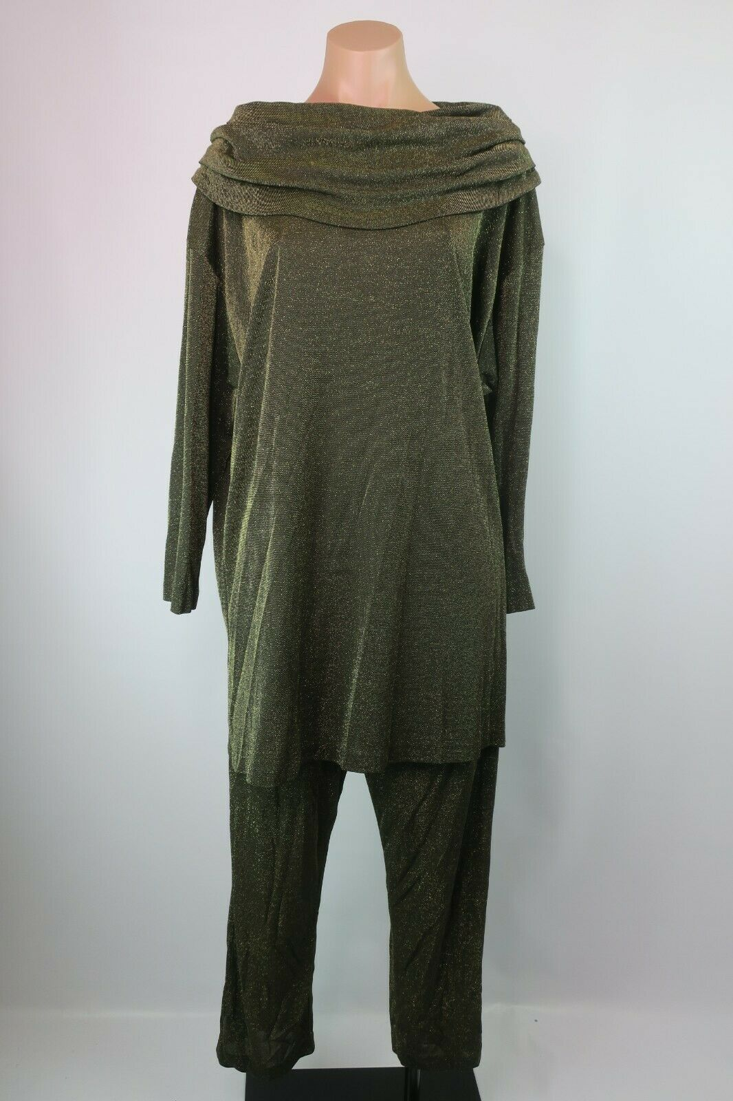 VTG 80s gold Metallic Lame Pant Suit 2Pc Loungewear Club Retro L Art-to-Wear