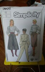 Vtg-Simplicity-7602-misses-culottes-tapered-pants-skirt-sz-14-NEW