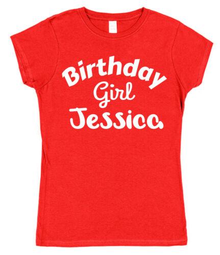 Personalizado De Cumpleaños Chica Camiseta Suelta Ajustada Adultos Niños Algodón Presente Regalo