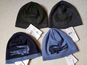 Détails sur Neuf Avec Étiquettes Homme Lacoste réversible Extra Fine Merino  Wool Logo Bonnet Gris ou Bleu, afficher le titre d\u0027origine