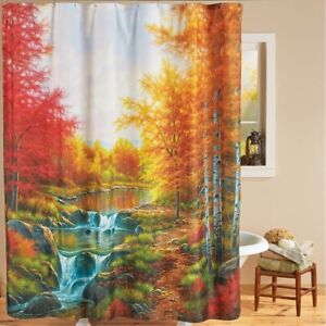 Autumn Glory Scenic Trees and River Bathroom Fabric Shower Curtain