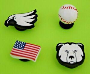 Crocs-Jibbitz-Charms-3-D-Baseball-Flag-Falcon-Bear-Head-ALL-4-for-8-99-NEW