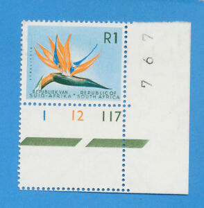 SOUTH-AFRICA-scott-298-VFMNH-plate-number-single-1964-R1-Flower