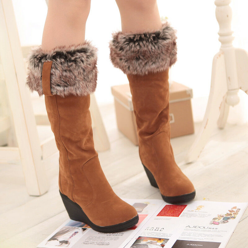 Womens Trim Fur Cuffed High Wedge Heel Pull on Knee High Winter Warm Boots New