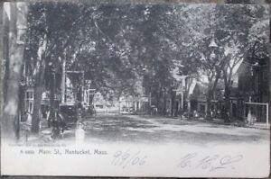 Nantucket-MA-1906-Rotograph-Postcard-Main-Street-Massachusetts-Mass