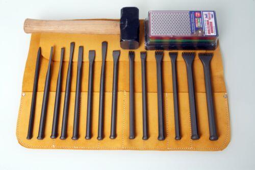 Stone Masonry Mallet Head Chisel Set w// Hammer /& Free Tool Roll//Sharpening Block