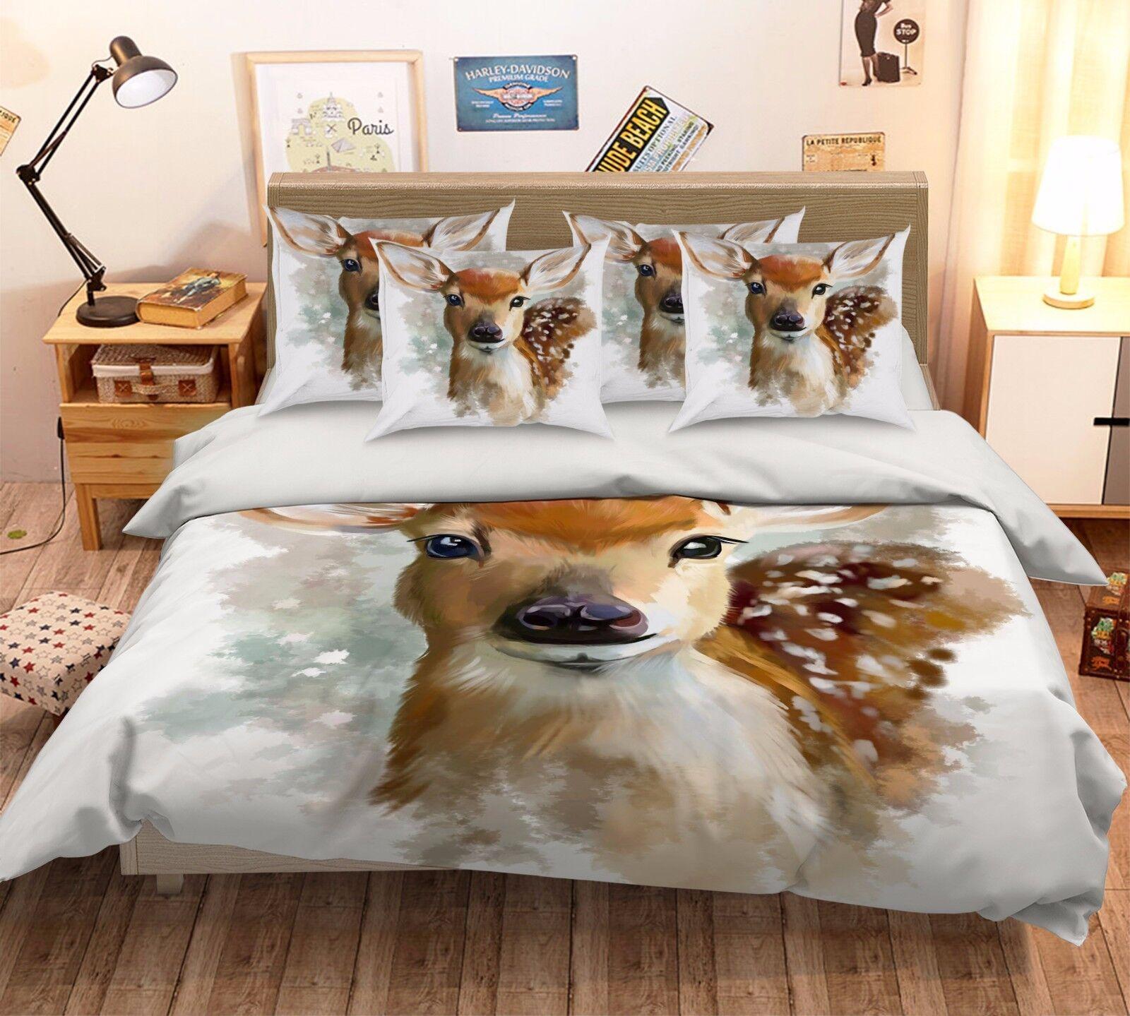 3D Cute Deer Painting 421 Bed Pillowcases Quilt Duvet Cover Set Single Queen CA