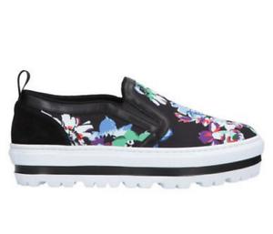 MSGM Floral Canvas Leather Platform
