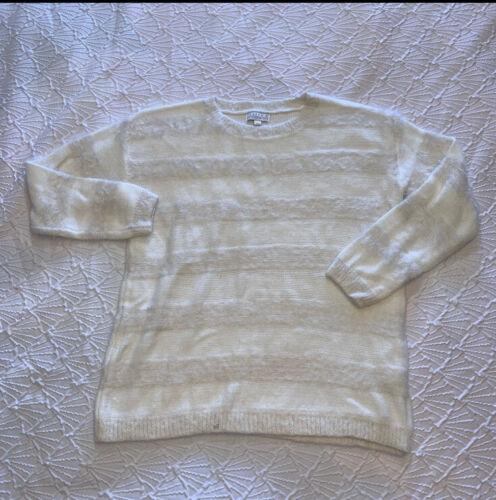 Joseph A Ivory Soft Sweater Sz L Striped