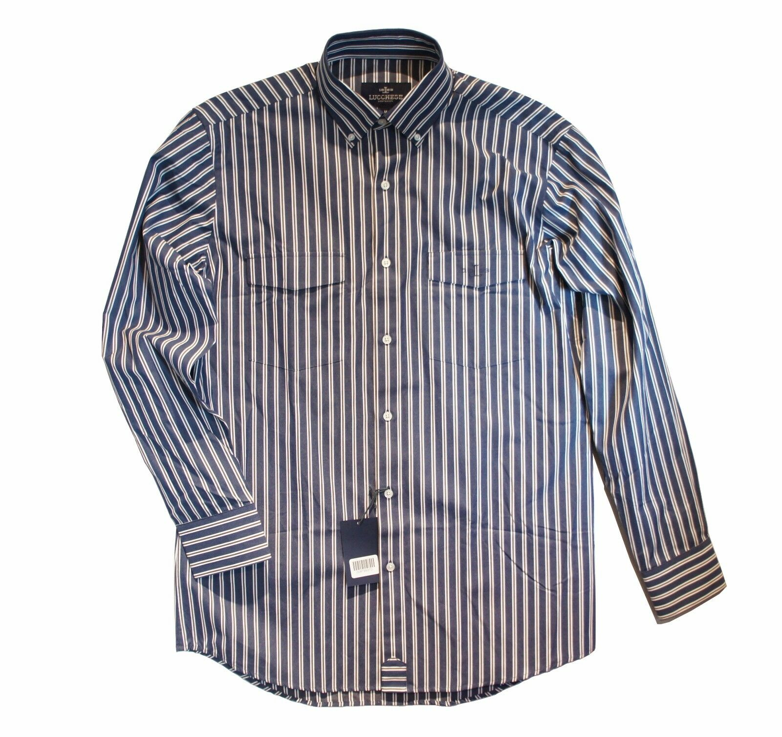 LUCCHESE Bootmaker bluee Brown White Striped Button Up 100% Cotton Shirt